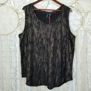 Cynthia Rowley Plus Black and Gold Shell Top NWT